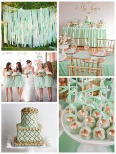 Mint and Gold wedding inspiration Mint Gold Weddings, Wedding Mint Green, Aqua Wedding, Wedding Colors, Mint Party, Gold Party, Wedding Themes, Wedding Decorations, Wedding Ideas