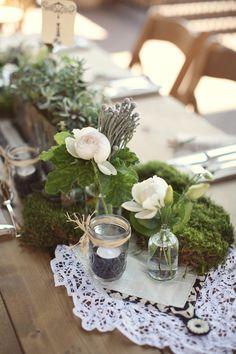 Natural elements. lace. jars. succulents. Design by eventsbymint.com, Floral Design by eventsbymint.com