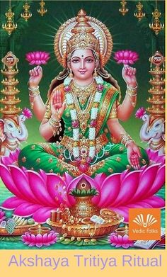 Goddess Lakshmi brings luck to her devotees in the form of wealth and prosperity. She is famous for her wealth, fortune, power, luxury, beauty, fertility and auspiciousness. The golden coins falling from her right palm means she is the giver of wealth and prosperity.  #Akshayatritiya2018 #Akshayatritiyapuja #Akshayatritiya