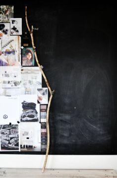 blackboard wall and mood board