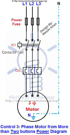 ON  OFF ThreePhase Motor Connection Power & Control Diagrams | Electrical Technology