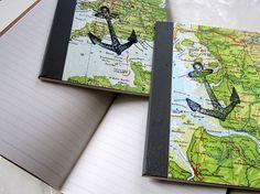Reisetagebuch mit Möwe _ DIN A6 aus Landkarte