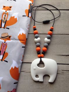 New! Foxy Tula Silicone teether, Elephant Silicone Necklace Teether, Tula Accessories, Fox Silicone Teething toy