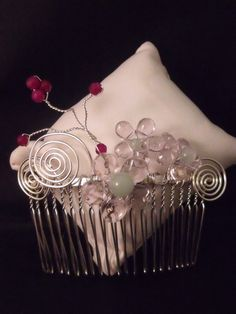 Handmade fascinator hair-comb featuring green aventurine and fuchsia agate gemstones £10.00