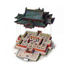 文史網 – 這位台灣人用剖視圖畫的中國古建築,美得讓人驚艷! 北宋皇佑四年 河北正定隆興寺摩尼殿