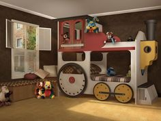 pinterest bunk bed ideas   Adorable all wood locomotive bunk bed transforms a child's room into a ...