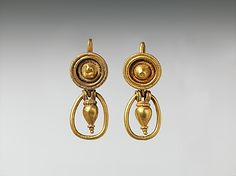 Gold earrings with pendant vase and ring, Classical Date: 4th century B.C. Culture: Etruscan