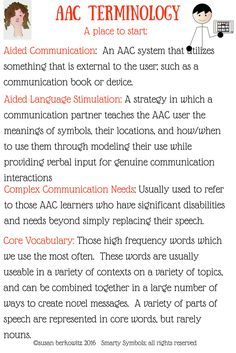 There are some terms that will reoccur throughout discussions of AAC. They are briefly defined here, and will be discussed in more depth t...
