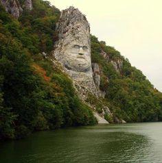 Rock statue of King Decebal on the Danube River, Romania