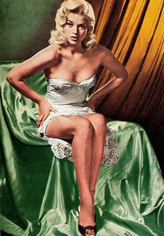 "Blonde and curvey bombshell Diana Dors (1931 - 1984) was called 'The English Marilyn Monroe', to her disgust. In her own words: ""I was the first home-grown sex symbol, rather like Britain's naughty seaside postcards. When Marilyn Monroe's first film was shown here [The Asphalt Jungle (1950)], a columnist actually wrote, 'How much like our Diana Dors she is'."""