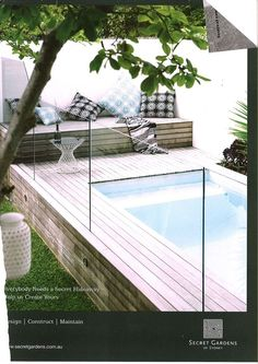 raised pool decking around small pool #outdoor #living
