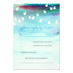 Watercolor Wedding RSVP modern beach watercolor blue wedding RSVP cards