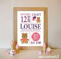 Cadeau naissance, stats de naissance, décoration chambre bébé fille - Fichier Imprimable - n°25 ourson : Chambre d'enfant, de bébé par cashemir
