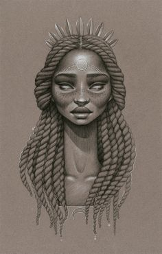 """Celestial Rhythms"" by Sara Golish Charcoal, conté  silver ink on toned paper. 12.5"" x 19.5"" SOLD #Afrofuturism #70s #SciFi #Retro #Future #NaturalHair #BlackArt #Blackisbeautiful #Havanatwists #marleytwists #silver #art #drawing"