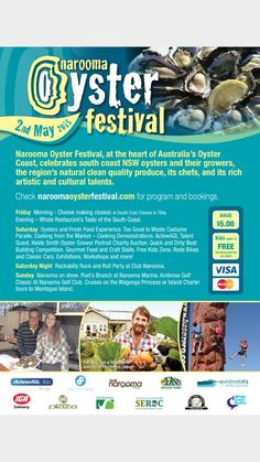Narooma Oyster Festival added a new photo. Oyster Festival, South Coast Nsw, Natural Cleaning Products, Oysters, Festivals, Guys, Check, Concerts, Sons