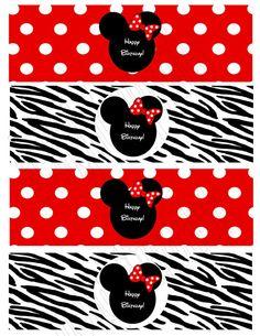 Imprimibles de Minnie Mouse en fondo rojo con lunares blancos y en cebra.