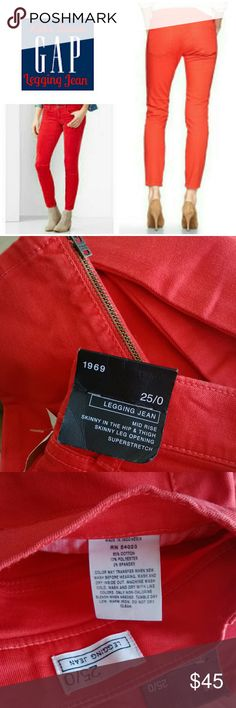 """🎉SALE🎉1969 GAP True Skinny Legging Jeans Now called True Skinny on Gap website. """"Killer Tomato"""" Red which almost looks orange, perfect for any season! Zippered inner ankle. Mid-rise. Perfect condition, no flaws. 85% cotton, 13% polyester, 2% spandex. Imported. Smoke/pet-free home.  💕Thanks for browsing my closet!!💕 GAP Jeans Skinny"""