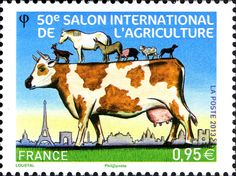 """This 2013 French stamp was issued by La Poste to commemorate the anniversary of the 50th """"salon de l'agriculture"""" (agricultural show), a major event held once a year in France."""