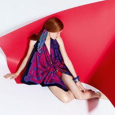 "Hermès, EENY MEENY MINY MOE Silk twill scarves ""Mors et Gourmettes remix"" and ""Ex-Libris à Carreaux"" Silk twill twilly ""Ballet Aquatique"""