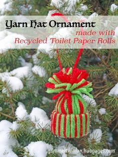 Holidays just aren't the same without homemade ornaments and this yarn hat made with recycled toilet paper rolls is one of the cutest. Easy to make with the step by step photo instructions and video.