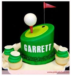Golf Tee Cake Topper with Cupcakes by Pink Cake Box in Denville, NJ. Golf Themed Cakes, Golf Cakes, Pastries Images, Pink Cake Box, Birthday Cakes For Men, Cake Birthday, Birthday Ideas, Sport Cakes, Novelty Cakes