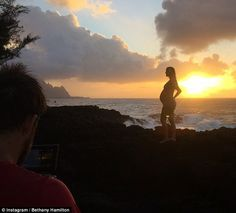 Sunset: In a post at 35 weeks, Bethany remarked of her pregnancy: 'My favorite thing about...