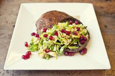 Prime Rib Portabellas with Brussels and Pomegranate December Featured Recipe