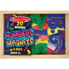 Melissa and Doug - Magnetic Wooden Numbers: Enough numerals to count from zero through twenty AND five math signs in a convenient wooden case. 37 colorful magnetic pieces can help children learn their numbers and solve basic math problems. #alltotstreasures #melissaanddoug #magneticwoodennumbers #woodentoys #magneticnumbers #numbermagnets #magnets