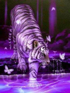 A blue pillow with a white tiger on it. This pillow looks stunning and will be loved by people that like tigers. So tiger fans check this pillow out! Purple Love, All Things Purple, Shades Of Purple, Pink Purple, Purple Stuff, Purple Art, Purple Hues, Big Cats Art, Cat Art