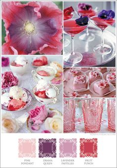 Mood board based on sweet colors, berry, pink, strawberry, fruit punch