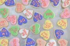 Valentine's treats - Emily at cupcakesandcashmere.com 's 'conversation heart cookies'