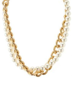 Pearl & Chain Collar Necklace: Charlotte Russe