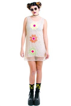 Flower Power Crochet Dress - XS/S/M – Tunnel Vision