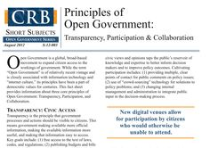 Principles of Open Government: Transparency, Participation & Collaboration https://www.library.ca.gov/crb/12/S-12-003.pdf