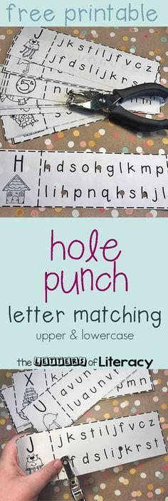 Sharpen letter recognition with this upper and lowercase letter matching hole punch activity, which includes a free printable.#alphabet #lettermatching #finemotor #freeprintable #kindergarten #preschool #teachersfollowteachers
