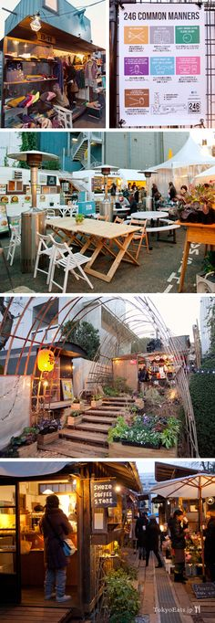 246 Common is an outdoor mobile/trailer food court/farmer's market community in the middle of Aoyama/Omotesando. They have over 20 or so very small shops which range from flower & clothing shops to bakeries, restaurants or drinks/snacks.