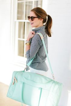 jon hart mint medium square duffel and makeup case | spring fashion | spring style | styling for spring | fashion ideas for spring | travel accessories | travel in style | fashionable duffel bags | style on the go || a lonestar state of southern