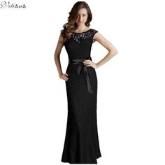 2017  Summer Women Lace Elegant Vintage Maxi Long Clothing Black Red Green Prom Fashion Casual  Sexy Evening Party Dresses