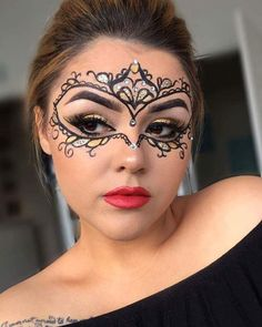 ⚜ Stunning MASQUERADE MASK by @Liveloveluxxe ⚜ Details: - Black Gel Liner - Loose Shadows in Aged Gold and Pharaohs Gold - Chromalights Pressed Glitter in Holy Grail - Matte Foundation in Golden Olive - Matte bronzer in Sienna - Shimmerlights highlight in - HD Lip Paint in Truth or Dare - Lashes in Crush  #mbacosmetics #masquerade #halloween #costume #halloweenmakeup