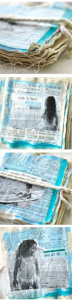 For more inspiration on how to showcase your summer memories. Check out this project! Creative Journal, Creative Art, Altered Books, Altered Art, Fabric Art, Fabric Books, Art Journal Inspiration, Journal Ideas, Fabric Journals