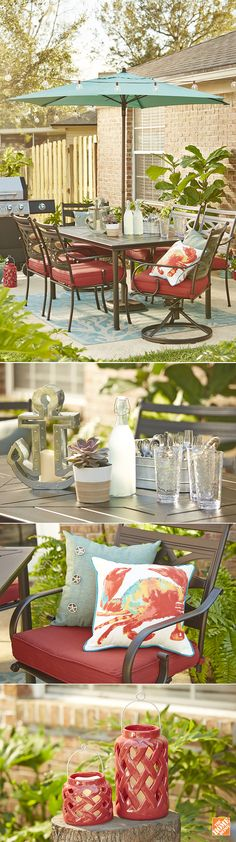 It's the coordinating patio accessories that make the coastal look come to life in this gorgeous outdoor space. Chelsea Coulston of Making Home Base focused on dusky reds and shades of aqua, along with a few nautically-themed items to go with the Middletown Patio Set. She explains how she achieved this look on The Home Depot Blog.