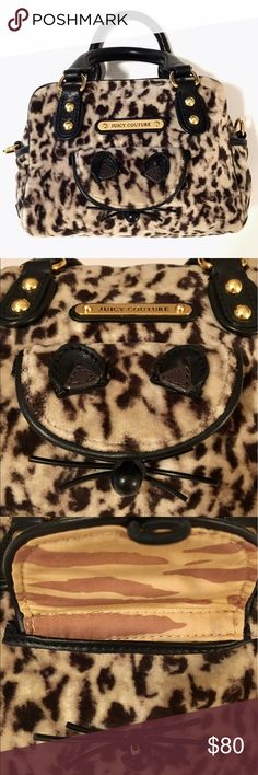 """Juicy Couture Leopard Handbag Adorable Juicy Couture Leopard Print Velour Zip Bag, one of the most popular discontinued lines. Purse is in excellent condition. Interior is spotless as well, with the exception of two tiny pen marks on bottom of bag, which are barely noticeable, just under the tag, see pics! I love the cat face on the front pocket of bag, eyes, nose and whiskers all made from leather! Approximate dimensions...6"""" (H) 8"""" (L) 4"""" (bottom width) 4"""" (handle drop) Juicy Couture Bags"""