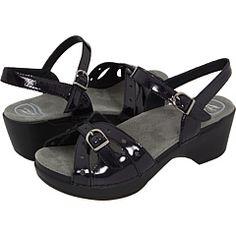 My Dansko sandals...patent, and resembles a peep-toe :)