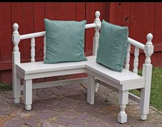 Running With Scissors: Corner Bench from Head and Foot Boards    Bev sez: the two ends of our old crib was made into a headboard - but if the two pieces ever get re-purposed again, this could be the next project.