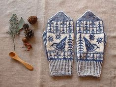 Patterned hand knitted Latvian mittens with birds Mittens Pattern, Knit Mittens, Knitting Socks, Mitten Gloves, Crochet Pattern, Knit Crochet, Knitting Projects, Knitting Patterns, Wrist Warmers