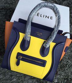 74af5348884a Celine Micro Luggage Handbag in Palm Smooth Calfskin Yellow Blue Orange 2015  Celine Micro