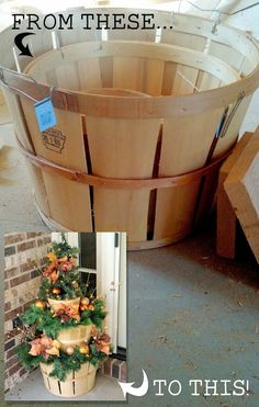 Apple Basket Christmas Decor - This tiered Christmas display was super easy to build. All that you will need are baskets (or some other kind of stackable containers), some miscellaneous pieces of scrap wood, wood screws, a drill and your favorite Christmas garland/decor items.