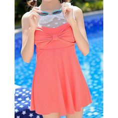 Sweet Peter Pan Collar Lace Spliced Bowknot Embellished One-Piece Swimsuit For Women