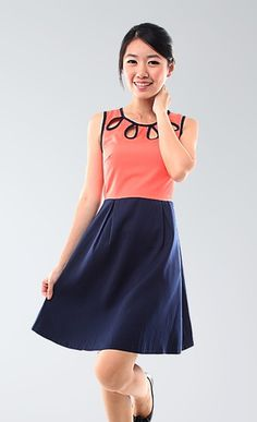 Raindrops Color-block Dress (Coral/Navy Blue) - $15.99 on @ClozetteCo