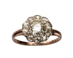 1890s Victorian 0.96ct Old Mine Cut Diamond Cluster Ring, 0.62ctw European Cut Diamond Sides, 12K Rose Gold : Erie Basin Antiques